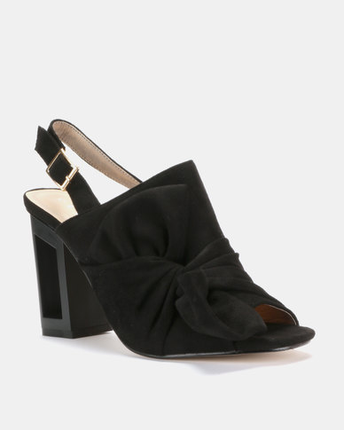 Utopia Bow Cut Out Heel Sandals Black
