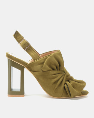 Utopia Bow Cut Out Heel Sandals Olive
