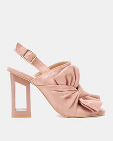 Utopia Bow Cut Out Heel Sandals Pink