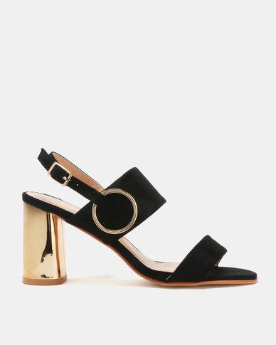 Utopia Metallic Heel Sandals Black