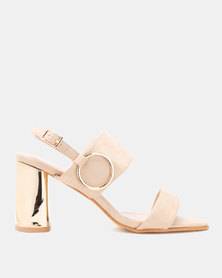 Utopia Metallic Heel Sandals Beige