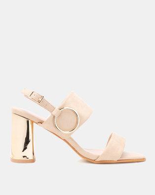 Utopia Metallic Heel Sandals Beige