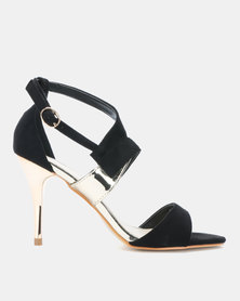 Utopia Vamp Strap Heeled Sandals Black