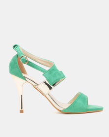 Utopia Vamp Strap Heeled Sandals Green