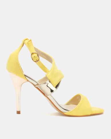 Utopia Vamp Strap Heeled Sandals Yellow
