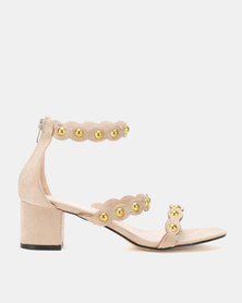 Utopia Gold Trim Low Sandals Beige