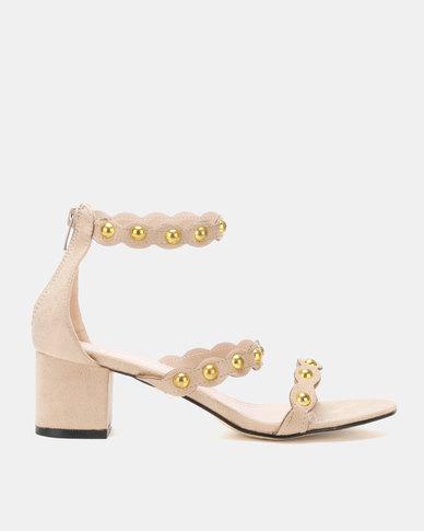Utopia Gold Trim Low Sandals Beige