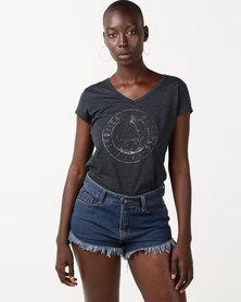 Roxy Short Sleeve Core V-Neck Tee Charcoal Grey