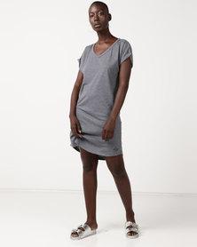 Roxy V-Neck Dress Stirling Grey