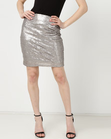 UB Creative Sequin Short Skirt Silver