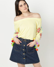 UB Creative Embroidery Off Shoulder Top Yellow