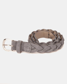 Black Lemon Plaited Suede Belt Grey