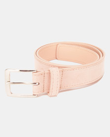 Black Lemon Simple Suede Belt Nude