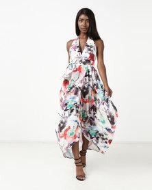 Blue Mango Draped Wraparound Maxi Dress White Print