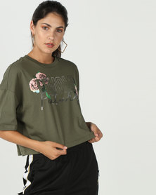 Converse Female Future Cropped Boxy Tee Green