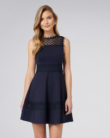 Forever New Coby Lace Trim Ponte Dress Navy