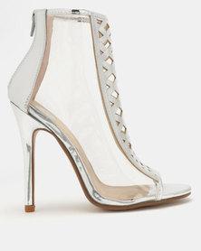 Footwork Amina Peep Toe Heels Silver