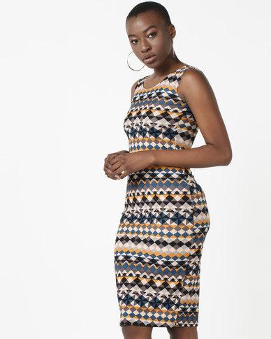 Utopia Sleeveless Dress Blue/Mustard Ethnic Print