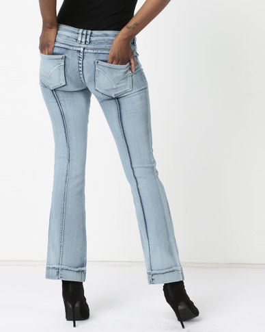 Utopia Bootleg Jeans With Pintucks Stonewash