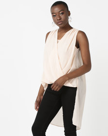 Utopia Draped Front Georgette Blouse Pink