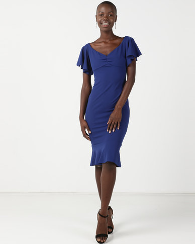 City Goddess London Off the Shoulder Midi Dress with Ruffle Sleeves Royal Blue