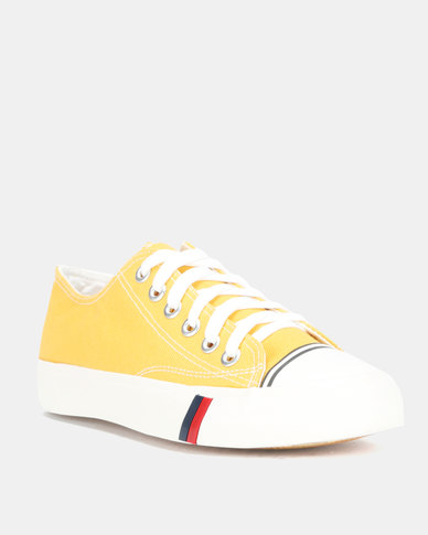 Utopia Mens Canvas Lace Up Shoes Yellow