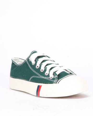 Utopia Mens Canvas Lace Up Shoes Dark Green