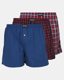 Jockey 3 Pack Woven Boxers Red
