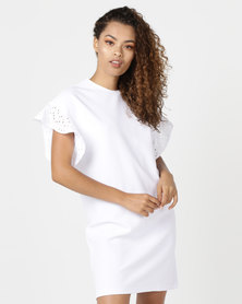 Paige Smith Frill Sleeve T-Shirt Dress Anglaisec Combo Sleeve White Body White