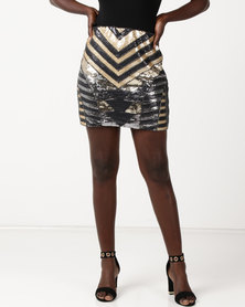 Utopia Sequins Skirt Black/Grey