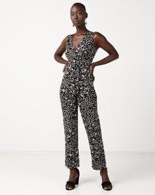 Utopia Belted Jumpsuit Black Print