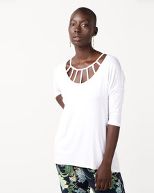 Slick Belle- Slat Front Detail Top White