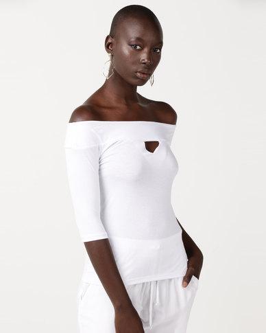 Slick Bianca Off Shoulder Fitted Top White
