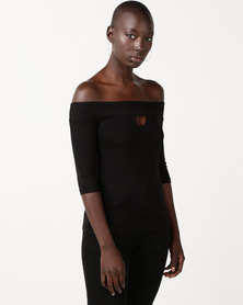 Slick Bianca Off Shoulder Fitted Top Black