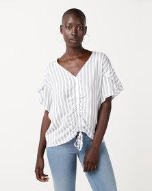 Slick Ellen Draw String Styled Top French Stripe Multi