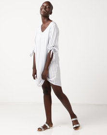 Slick Lily Tunic Top With Tie Sleeve Detail French Stripe