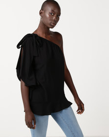 Slick Bo One Shoulder Styled Top Black