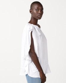 Slick Bo One Shoulder Styled Top White