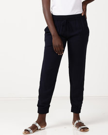 Slick Astrid Styled Pant With Cuff Plain Navy