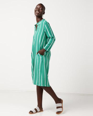 Slick Karina - Shirt Style Dress With Pockets Emerald Stripe Blue