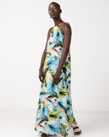Slick Nova Styled Dress With Contrast Tropical Print Multi