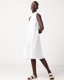 Slick Georgie - Halter Neck Dress Plain White
