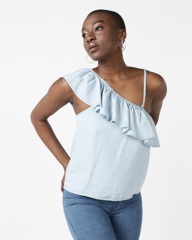 All About Eve One Shoulder Frill Detail Top Light Blue