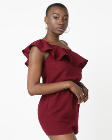 All About Eve Frill Detail Playsuit Plum