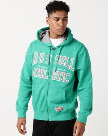 Russell Athletic Arch Logo Zip Thru Hoodie Green