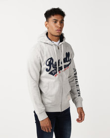 Russell Athletic Chest Embroidery Zip Thru Hoodie Grey
