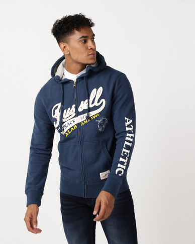 Russell Athletic Chest Embroidery Zip Thru Hoodie Indigo