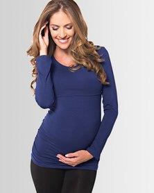 Lonzi&Bean MilkiMum Maternity & Breastfeeding Top Navy