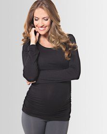 Lonzi&Bean MilkiMum Maternity & Breastfeeding Top Black