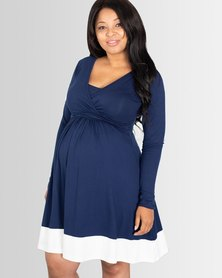 Lonzi&Bean Long Sleeved UltiMum Maternity & Breastfeeding Dress Navy/Vanilla